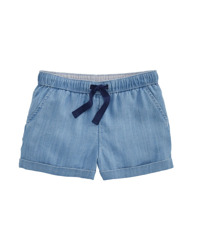 Girls Chambray Pull-On Shorts