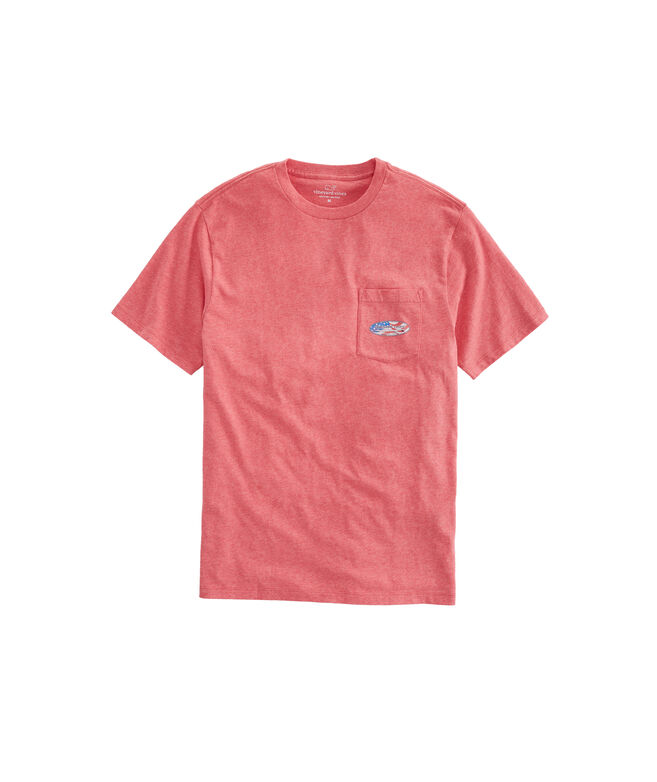 Heathered USA Surf Logo Pocket T-Shirt