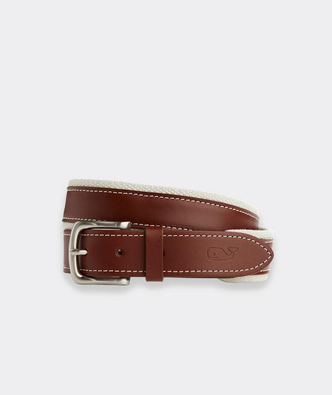 Canvas Trim Leather Belt