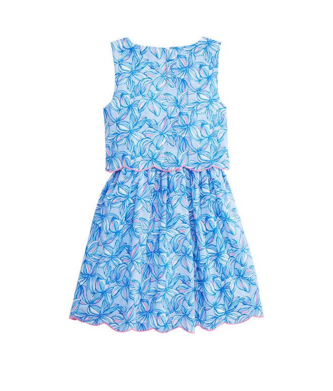 Girls Waisted Plumeria Scallop Dress
