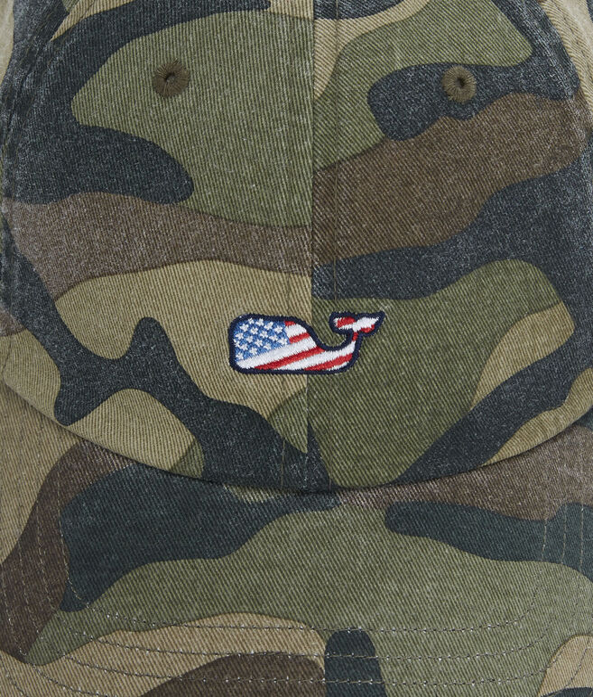 Washed Camo Flag Whale Baseball Hat