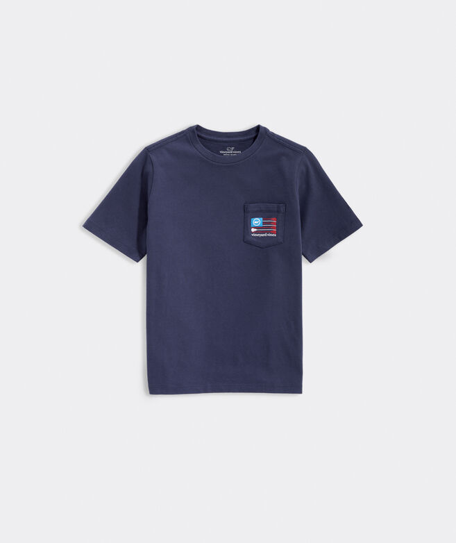 Boys' Lacrosse Flag Short-Sleeve Pocket Tee