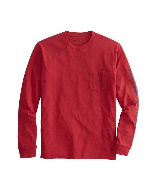 Long-Sleeve Vintage Whale Heather Pocket T-Shirt