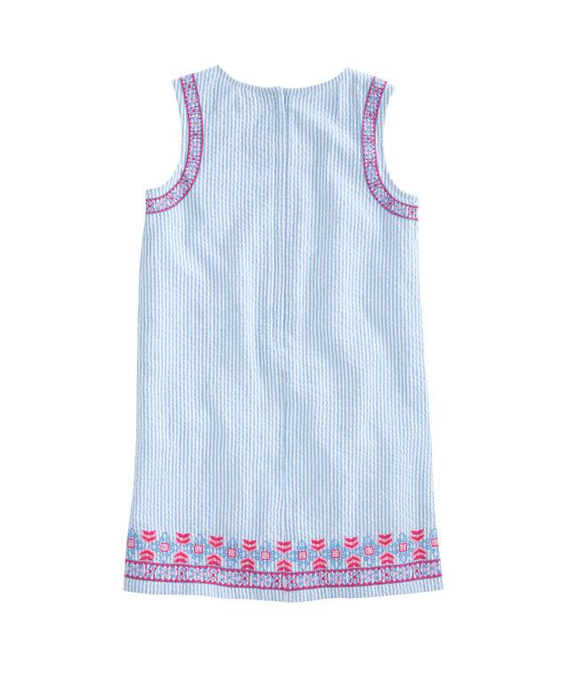 Girls Embroidered Seersucker Shift Dress