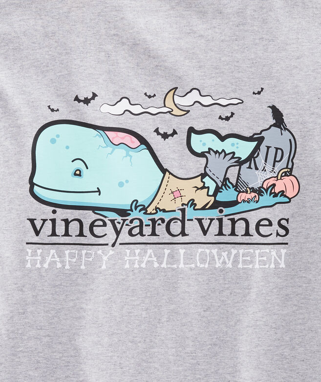 Halloween Zombie Whale Long-Sleeve Pocket T-Shirt