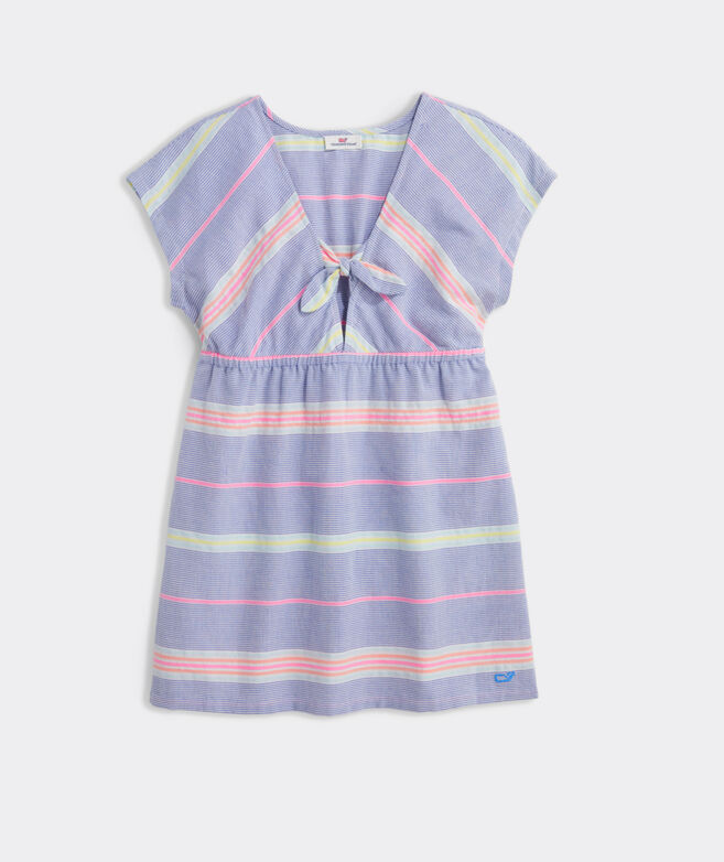 Girls' Beachy Stripe Tie Front Cover-Up