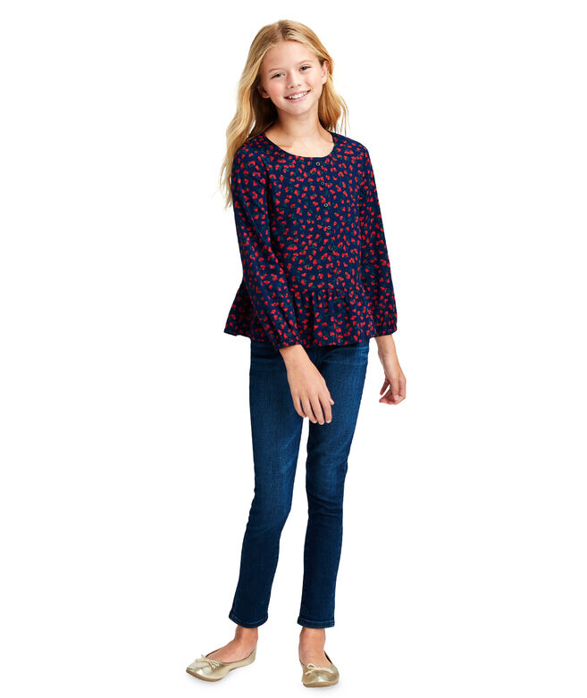 Girls Holly Berry Whale Print Peplum Top