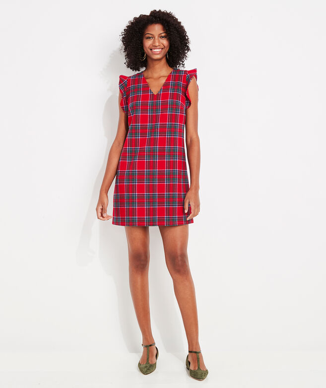 Nantucket Tartan Flutter Sleeve Shift Dress