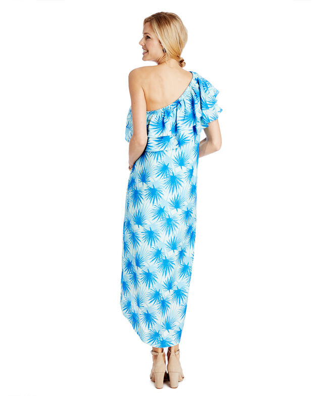 Electric Palm One Shoulder High-Low Maxi Dress