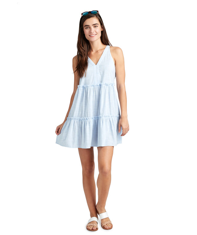 Resort Stripe Tiered Ruffle Cover-Up