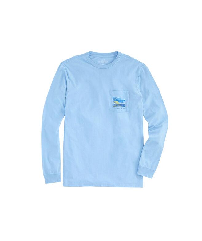 Long-Sleeve Sunset Kiteboard Pocket T-Shirt