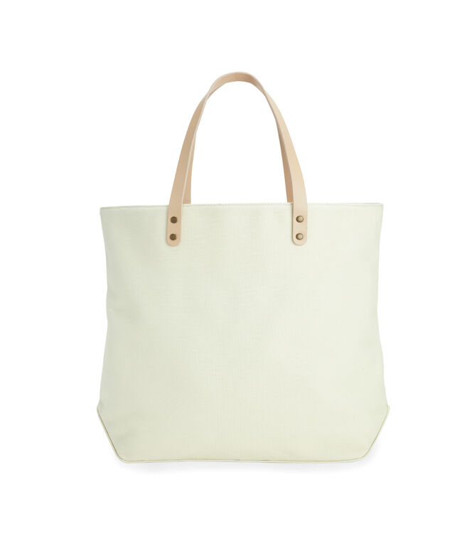 Leather Handle Tri-Stripe Tote Bag
