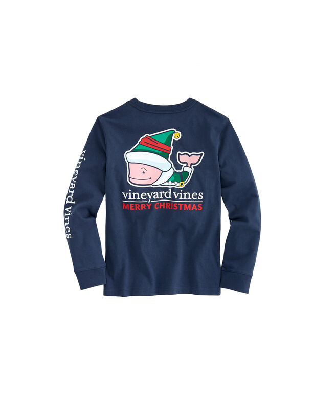 Vineyard Vines Christmas Shirt 2019.Kids Long Sleeve Elf Whale Pocket T Shirt
