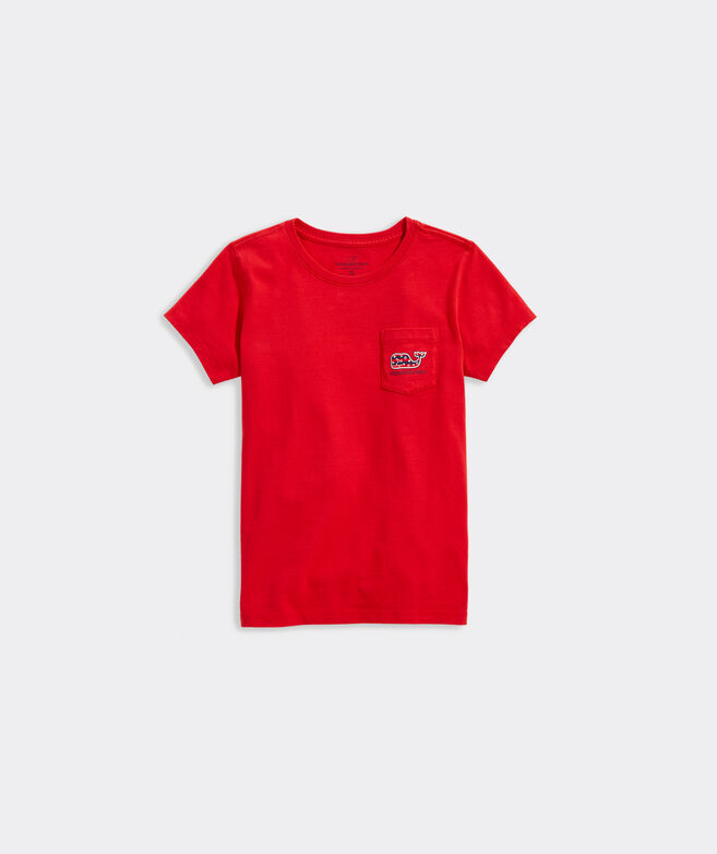 Girls' Stars and Stripes Whale Short-Sleeve Pocket Tee
