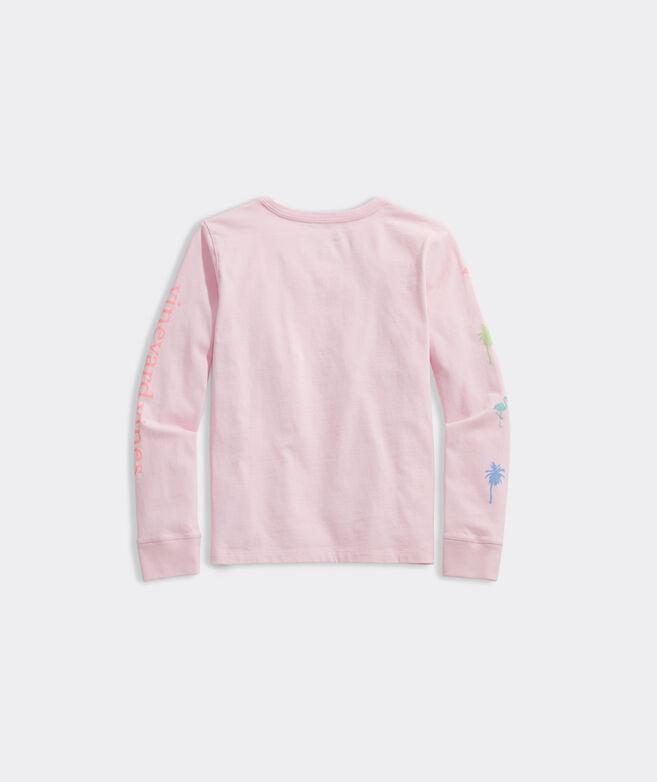 Girls' Neon Palm and Flamingo Long-Sleeve Tee