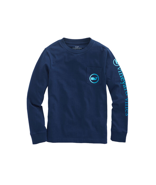 Boys Ombre Whale Dot Long-Sleeve Pocket T-Shirt