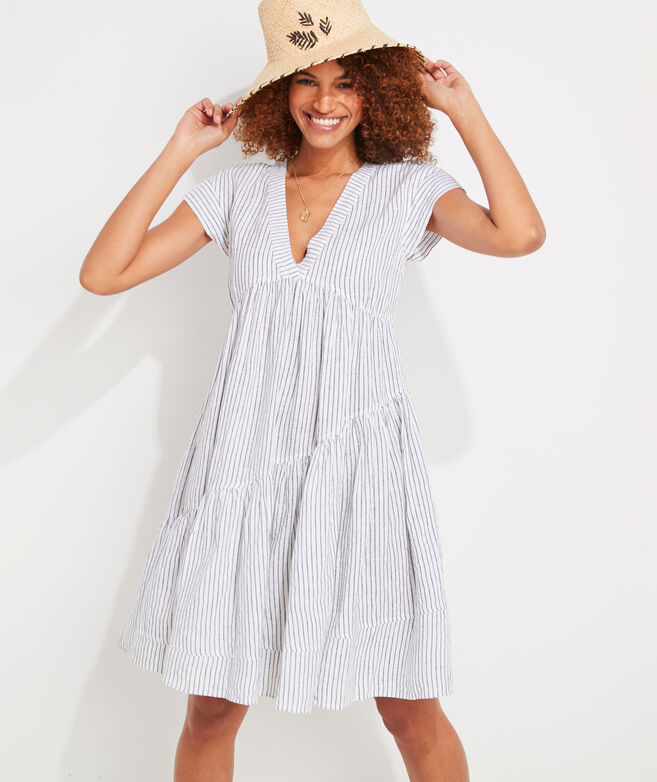 Jet Stripe Tiered Linen Dress