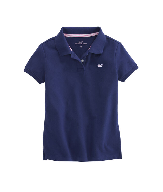Girls Solid Pique Polo