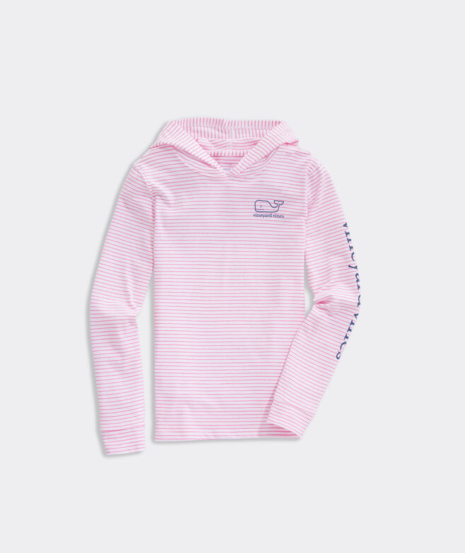 Girls' Windward Stripe Vintage Whale Long-Sleeve Hoodie Tee