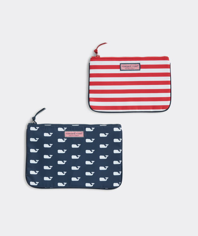 Whales & Stripes 2-Pack Nylon Cosmetic Set