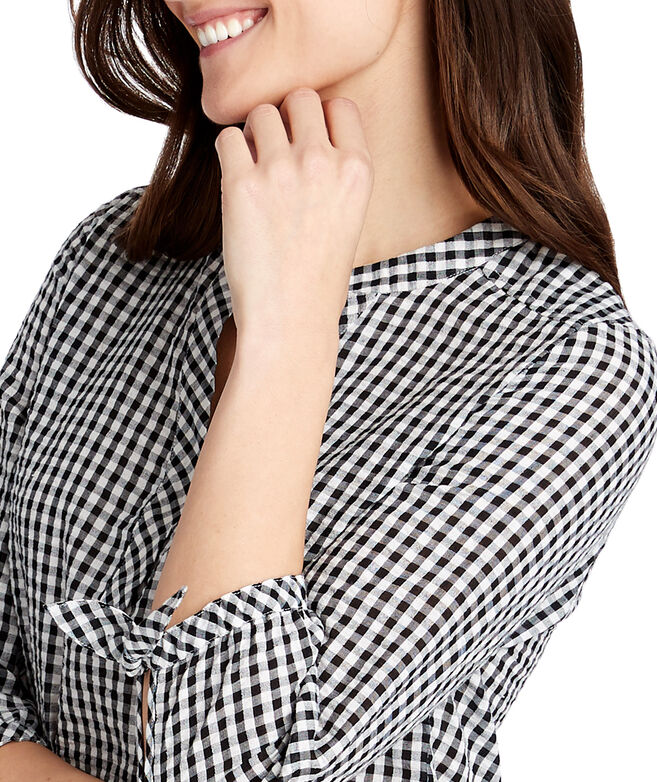 Gingham Seersucker Savannah Popover Top