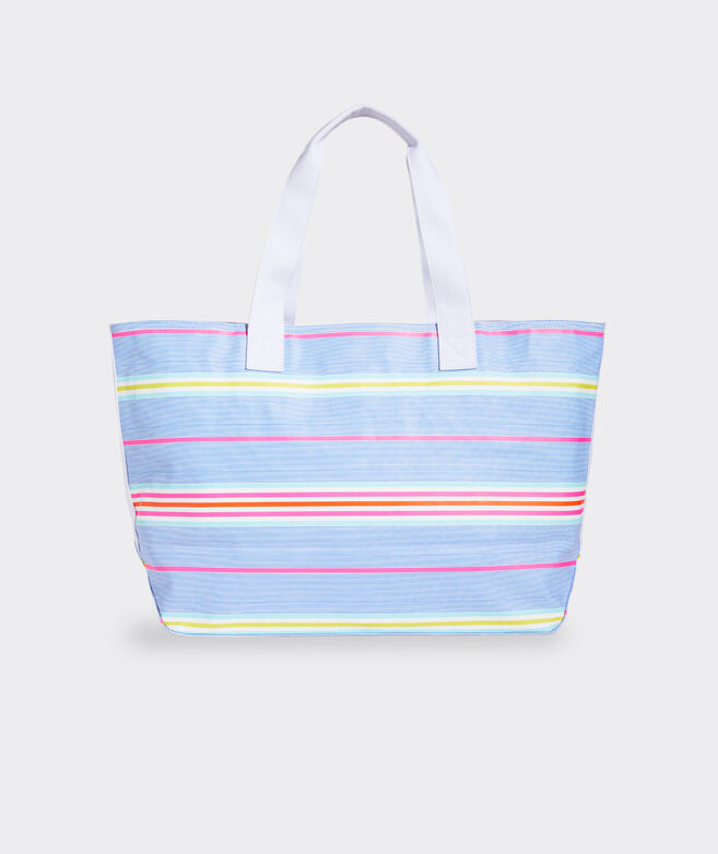 Beachy Stripe Washed Canvas Tote Bag