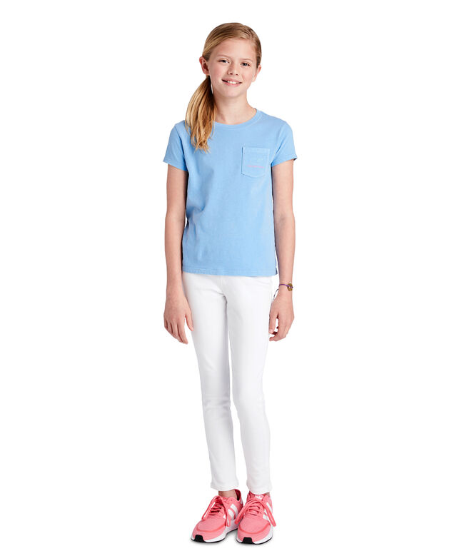 Girls Garment-Dyed Two-Tone Vintage Whale Tee