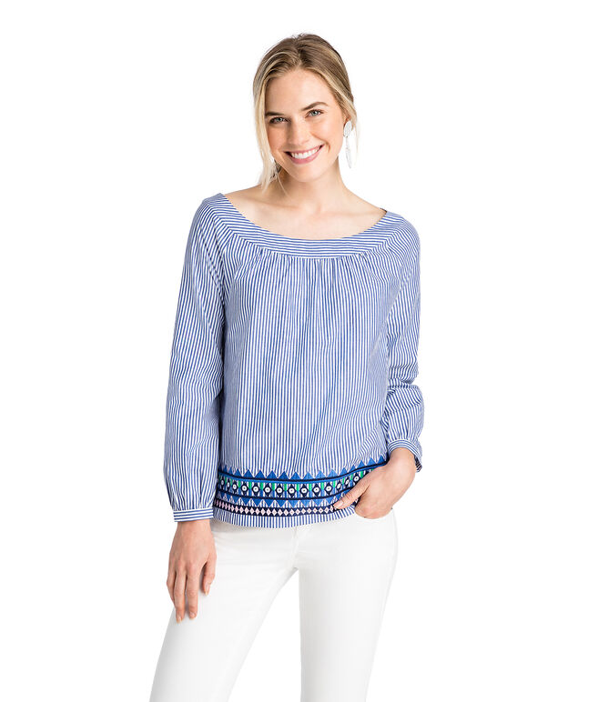 Geo Prep Embroidered Open Neck Top