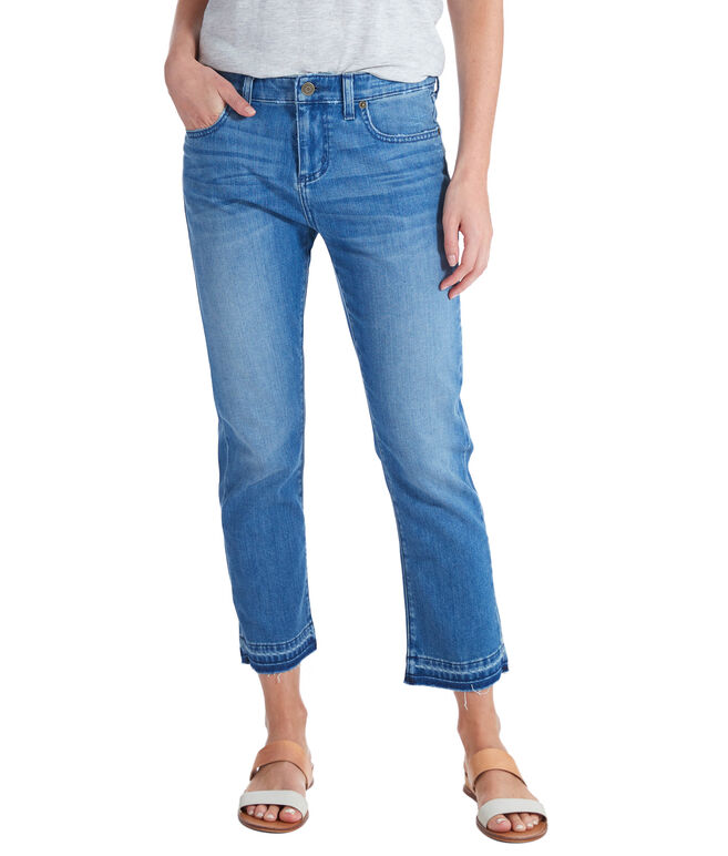 Caribe Wash Crop Released Hem Denim