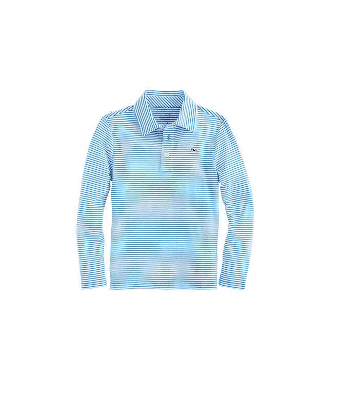 Boys Long-Sleeve Color To White Shep Stripe Edgartown Polo