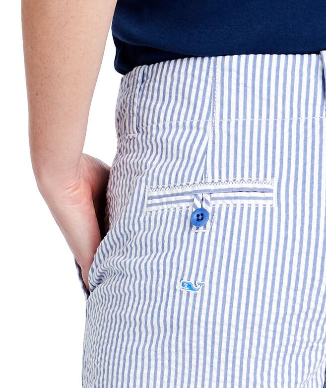 Seersucker Whale Embroidered 3.5 Inch Every Day Shorts