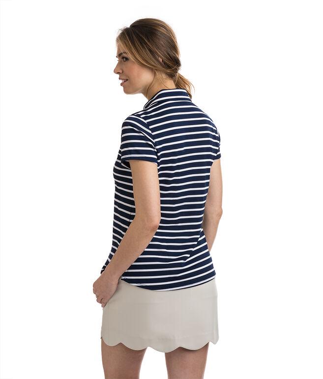 Short-Sleeve Striped Pique Polo