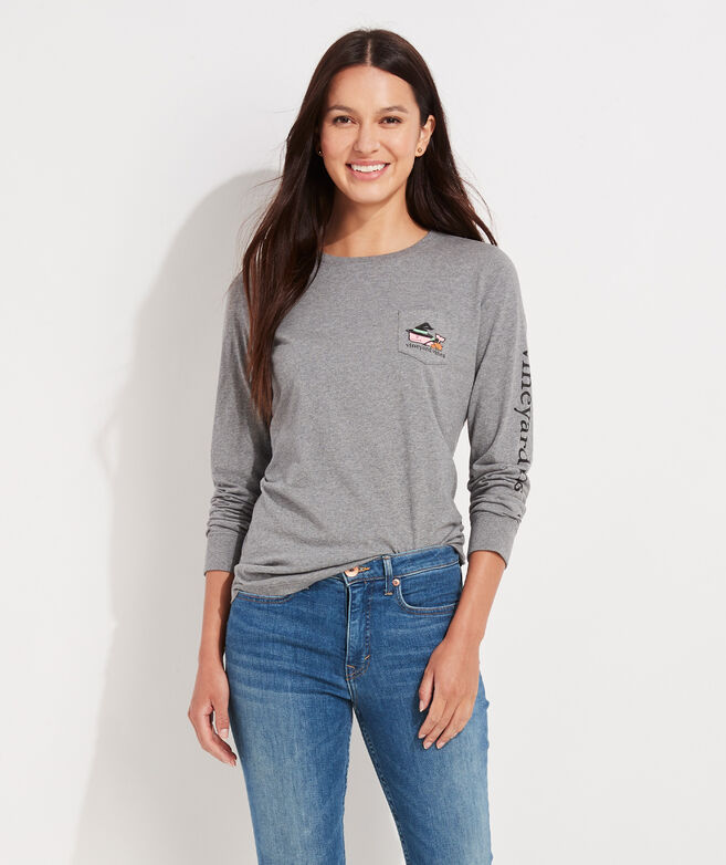Halloween Witch Whale Long-Sleeve Pocket Tee