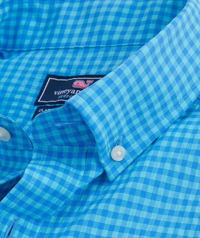 Classic Short-Sleeve Performance Gingham Tucker Shirt