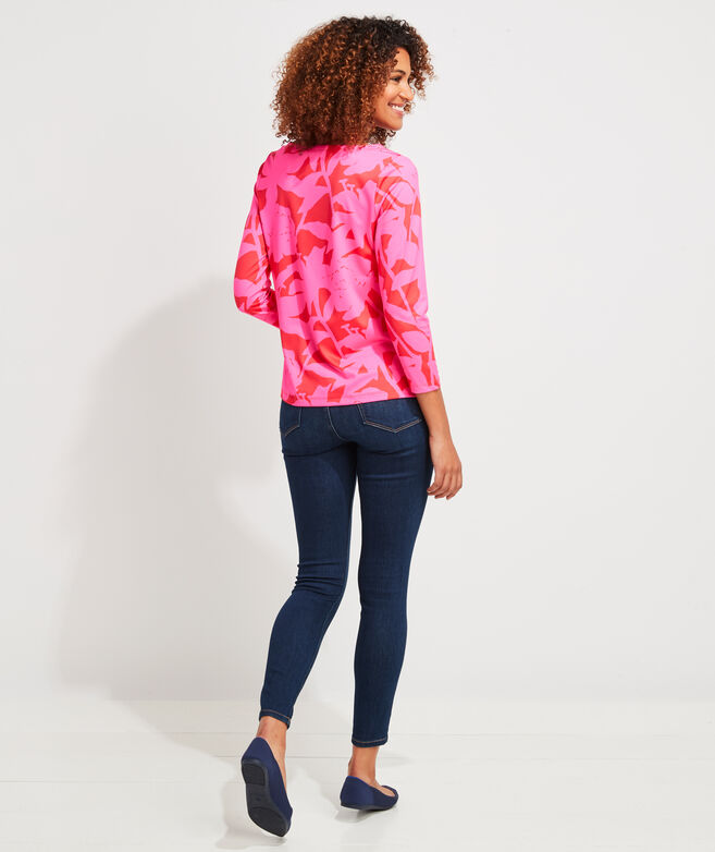 Tropical Floral Sankaty Simple Boatneck Tee