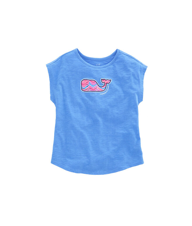 Girls Short-Sleeve Watercolor Whale Tail Swing Tee