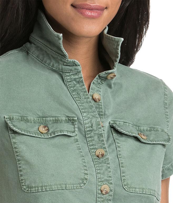 Stretch Utility Short-Sleeve Shirt Dress