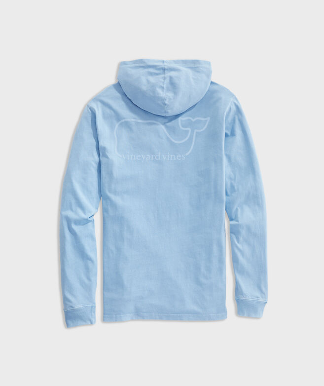 Garment Dyed VV Whale Long-Sleeve Hoodie Pocket Tee