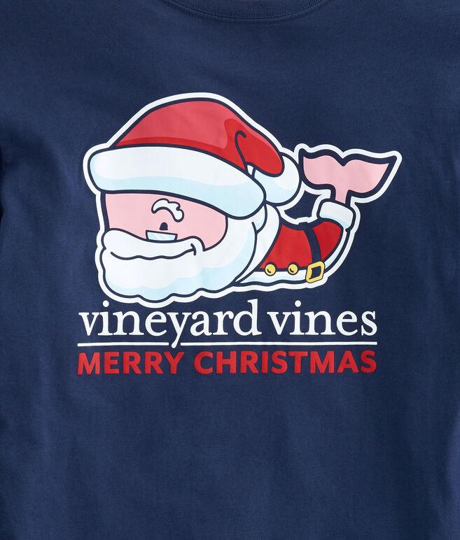 Long-Sleeve Santa Whale Pocket T-Shirt