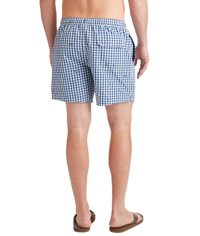 Flag Whale Embroidered Gingham Chappy Trunks