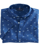 Short-Sleeve Crossed Fish Bone Slim Murray Shirt