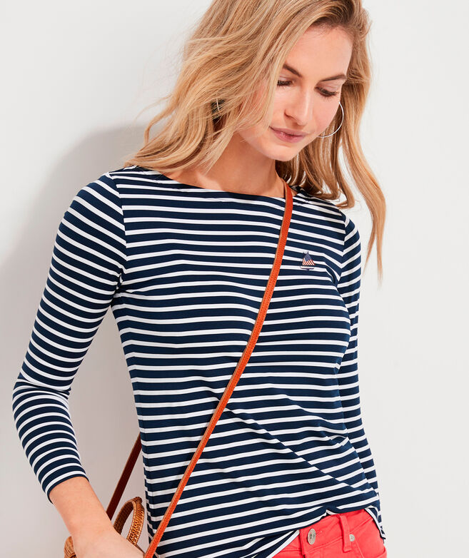 Women's Limited-Edition USA Catboat Striped Lightweight Sankaty Simple Boatneck Tee