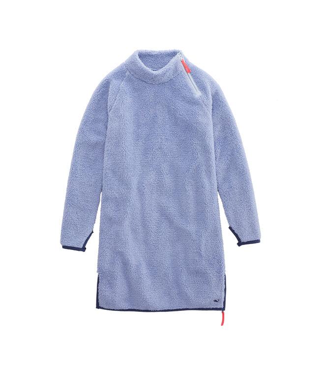 Girls Mock Neck Fuzzy Raglan Sleeve Dress