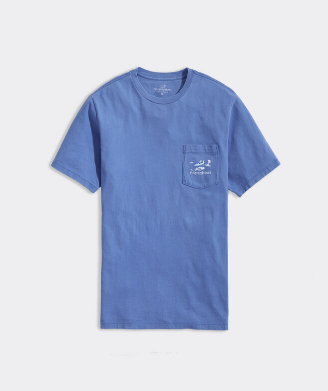 Garment-Dyed Approaching Paradise Short-Sleeve Pocket Tee