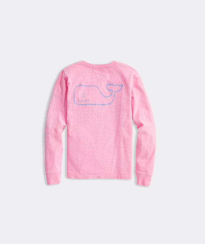 Girls Tri-Tone Vintage Whale Long-Sleeve Pocket Tee