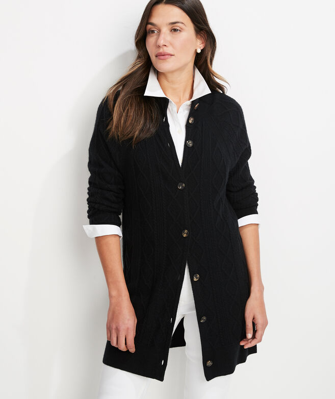 Button Front Cashmere Cable Sweater Coat