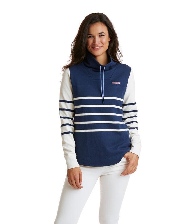 Funnel Neck Mixed Stripe Shep Shirt
