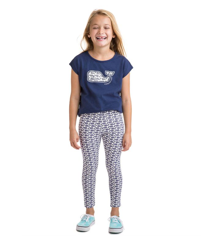 Girls Etched Whale Leggings