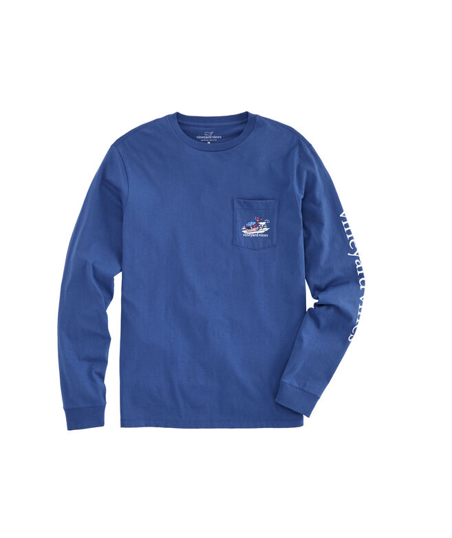 Ski Race Whale Long-Sleeve Pocket Tee
