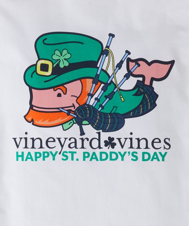 St. Paddy's Bagpiper Whale Long-Sleeve Pocket Tee